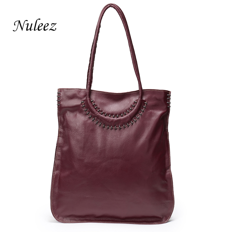 Nuleez Italian Leather Bag Big Tote Strap Handmade Soft Women Genuine Leather Sh