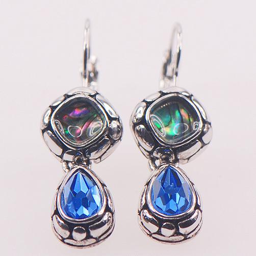 Abalone Shell Simulado Topázio azul 925 Sterling Silver Jewelry Brincos TE409
