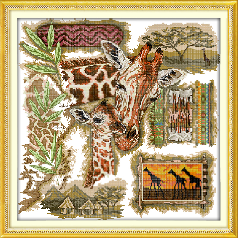 Generous The African Giraffes Home Decor By Scientific Process Counted Printed On Fabric Dmc 14ct 11ct Cross Stitch Kits,embroidery Needlework Sets