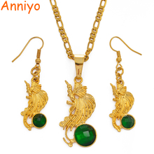 Anniyo Gold Color Bird of Paradise Pendant Chains and Earrings Sets for Women,Papua New Guinea Jewellery PNG Style Gifts #097506