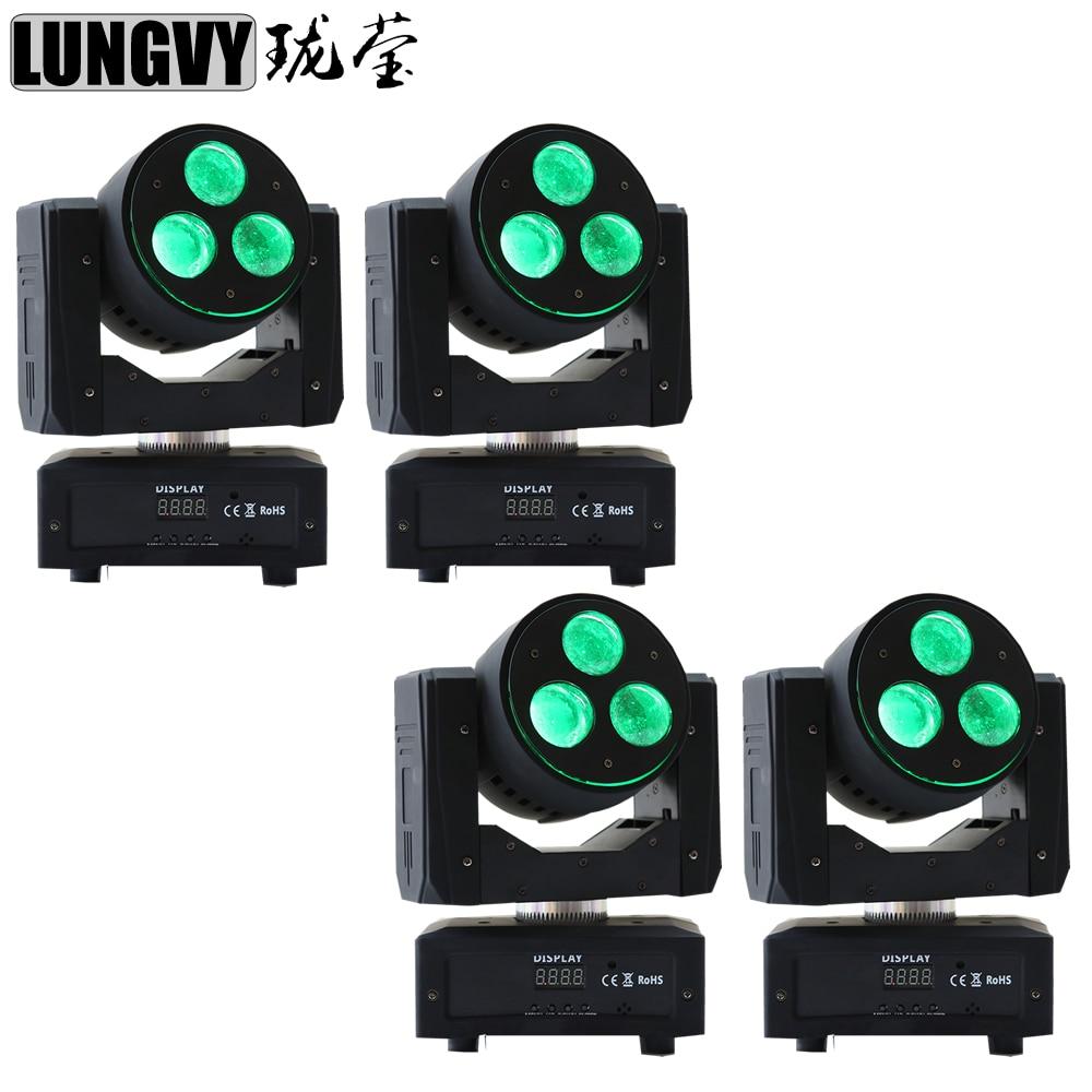 Free Shipping 4pcs/Lot LED Beam Moving Head Light CREE 3x20w RGBW 4IN1 Led For DJ Party Disco Nightclub Bar