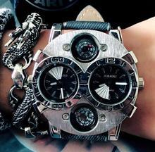 Top Luxury Brand Casual Fashion Leather Quartz Watch Men Women Military Sports Wrist Watch Wristwatch Large Dial Cool Trendy