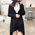 Suéter de las mujeres 2016 Nueva Moda Otoño Primavera Capa Suéter Cardigans de Punto Borlas Negro Bolsillos Estilo Europeo Outwear Casual