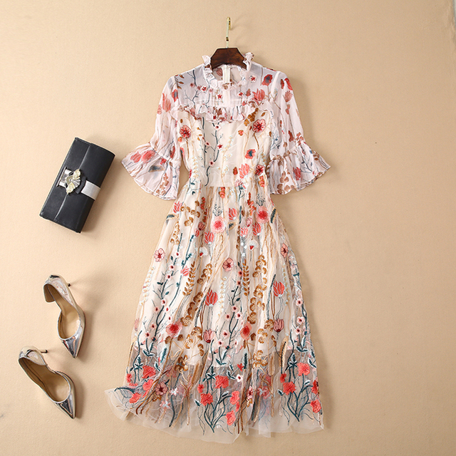 2768e87ebade4 US $69.59 13% OFF|HIGH QUALITY Newest 2019 Summer Runway Dress Women's  Flare Sleeve Stunning Embroidery Gauze Dress-in Dresses from Women's  Clothing ...