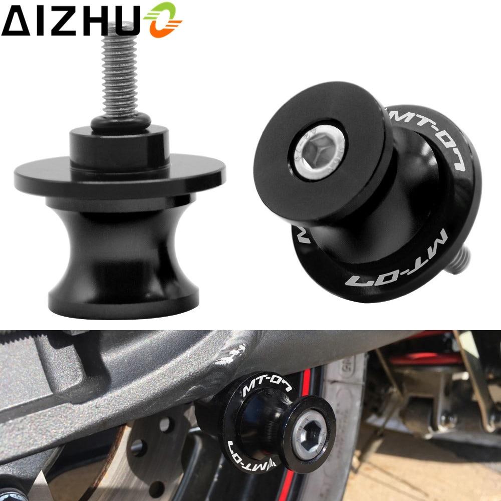 For YAMAHA MT07 MT 07 MT-07 Motorcycle Swingarm Slider Spools 6mm CNC Aluminum MT-07 LOGO Motor Accessories Stand Screws