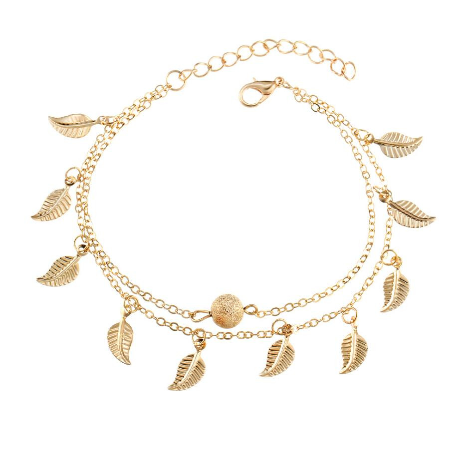 Hot Sell Ornaments Fashion Charming Beach Double Retro Ankle Chain Tassel Leaf Bracelet Bead Wholesale Beach Party Holiday Gift