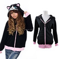 Autumn Winter Anime Animal Cartoon Women Men's Black Cat Hoodies With Ears Coat Jacket Warm Polar Fleece Plus Size Kigurumi