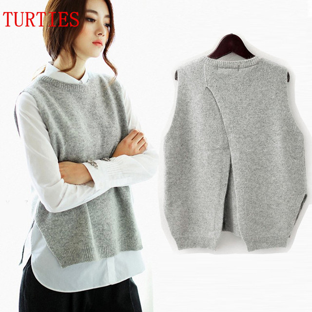 Spring New Cashmere Knit Vest back Split hedging loose Sweater Vest Waistcoat Female thin section knitted pullover