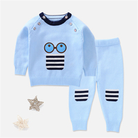 Baby Boys Cartoon Sweater 2Pcs Set Girl Fashion Winter Warm Clothing Set Warm Pullover Pants Suit Knitted Cloth Set AA12187