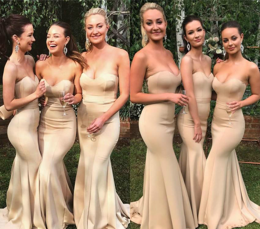 Mermaid   Bridesmaid     Dress   2019 Cheap Sweetheart Summer Country Garden Formal Wedding Party Guest Maid of Honor Gown Plus Size
