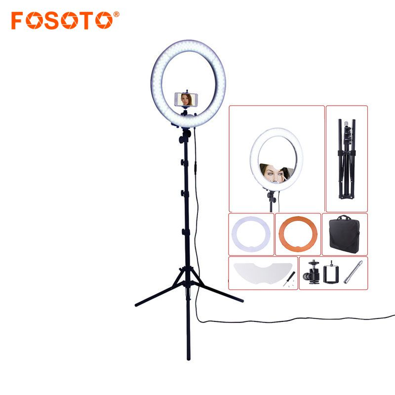 fosoto Rl-18 Led Ring Light 18 5500K Photography lighting Dimmable Ring Lamp Tripod&mirror For Camera Photo Studio Phone Videofosoto Rl-18 Led Ring Light 18 5500K Photography lighting Dimmable Ring Lamp Tripod&mirror For Camera Photo Studio Phone Video