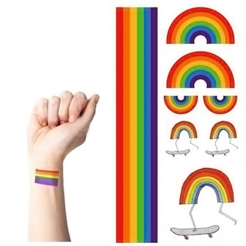 fc4445ff98508 Temporary Tattoo Rainbow Stripes Tattoo Stickers Waterproof Tattoo Body  Paint Art Gay Pride Beauty Body Party Nail Art 10pcs