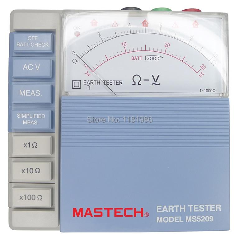 MASTECH ms5209 низкая Мощность указатель сопротивления заземления Тесты er аналоговый Сопротивление заземления Тесты метр megger megometro 10ohm к 1000ohm
