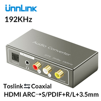 Unnlink HDMI ARC to 5.1 SPDIF Toslink Coaxial RCA 3.5mm Jack Audio Converter 192 KHz DAC for ps3 ps4 smart TV amplifier speaker