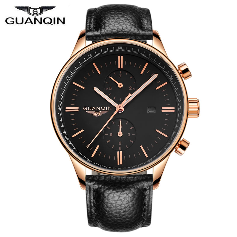 ФОТО GUANQIN Luxury Brand Quartz Watch Men Leather Strap Sports wristwatch Luminous male Casual Watch Men's business clock hour gift