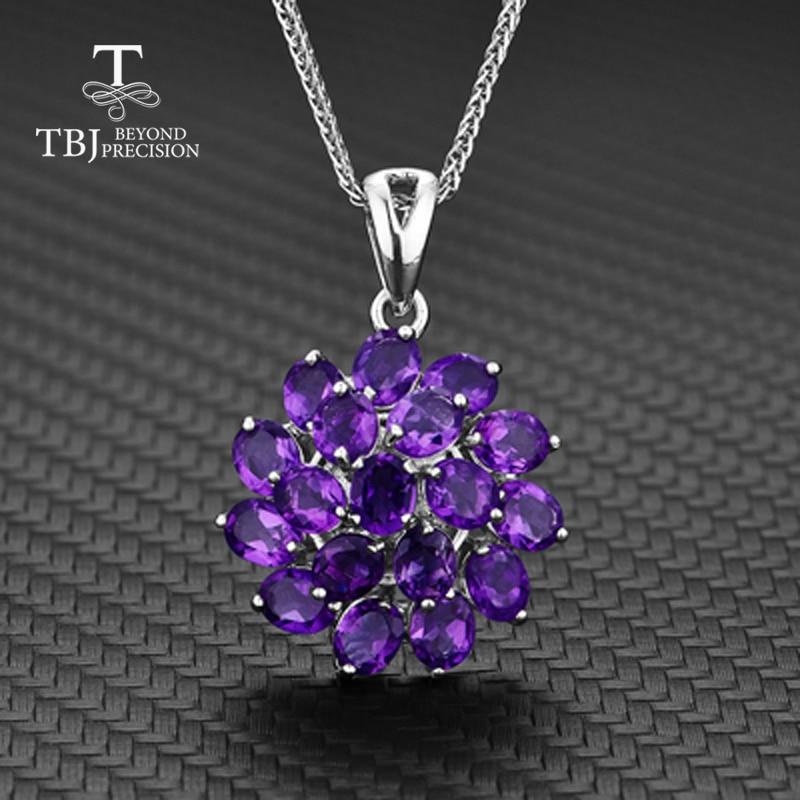 TBJ, 925 argent sterling couleur profonde améthyste africaine fleur forme pendentif collier et boucles d'oreilles chaîne meilleur beau cadeau pour les femmes femme