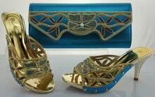 รูปแบบที่ดีผู้หญิง10เซนติเมตรส้นอิตาลีรองเท้าจับคู่และถุงตั้ง,พรรคเลดี้รองเท้าและชุดกระเป๋าME1103 T.สีฟ้าขนาด38-42