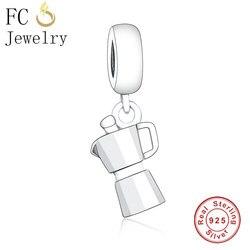 Fc jóias caber marca original charme pulseira 925 prata esterlina viagem máquina de café fabricante grânulo pingente para o miúdo berloque