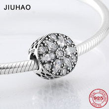 For fashion Lady Gift 925 Sterling Silver Crystal Clear CZ flower beads Fit Original Pandora Charm Bracelet Jewelry making(China)