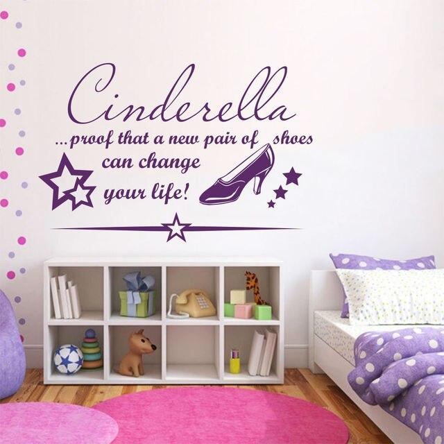 Wandtattoos Zitate Cinderella Prof Ein Neues Paar Mädchen - Cinderella schlafzimmer