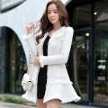 Original 2016 Brand Winter Thick Woolen Coat Plus Size Chain Sequin Slim Elegant White Long Manteau Femme Women Jacket Wholesale