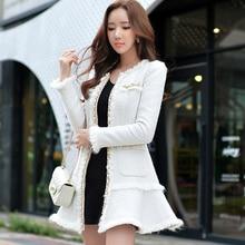 Original 2016 Brand Winter Thick Woolen Coat Plus Size Chain Sequin Slim Elegant White Long Manteau Femme Women Jacket Wholesale