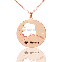 AILIN DIY America State Necklace AK State Pendant Rose Gold Color Engraved Black Name State With Heart The Map Necklace