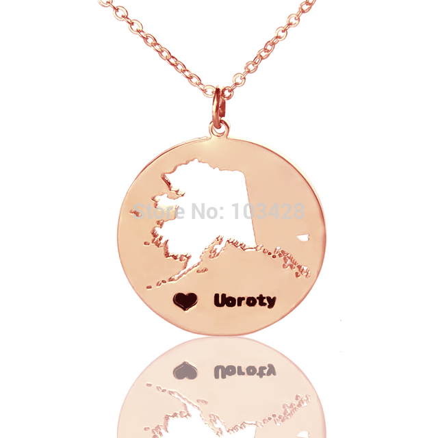 Diy america state necklaces ak state pendant necklace rose gold diy america state necklaces ak state pendant necklace rose gold color engraved black name state with aloadofball Gallery