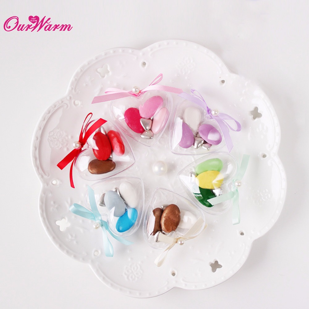 10pcs Clear Heart Plastic Candy Box Transparent Wedding Favors and ...