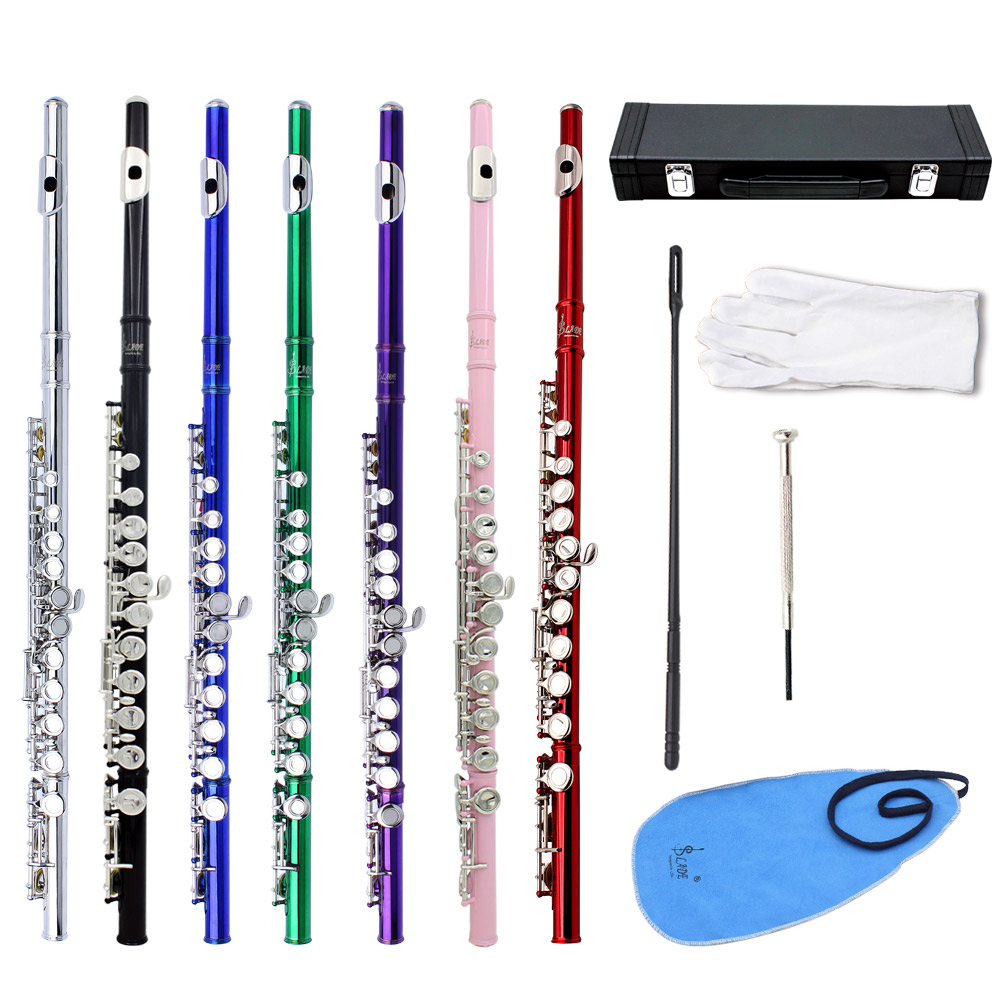 16 Holes C Key Flute Cupronickel Plated Silver Woodwind Instrument with Cleaning Cloth Gloves Padded Case
