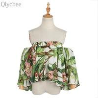 Qlychee Floral Off Shoulder Flare Sleeve Crop Top Women Summer Korean Cute Summer Slash Neck Blouse