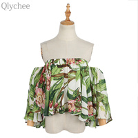 Qlychee Floral Off Shoulder Flare Sleeve Crop Top Women Summer Korean Cute Summer Slash Neck Blouse