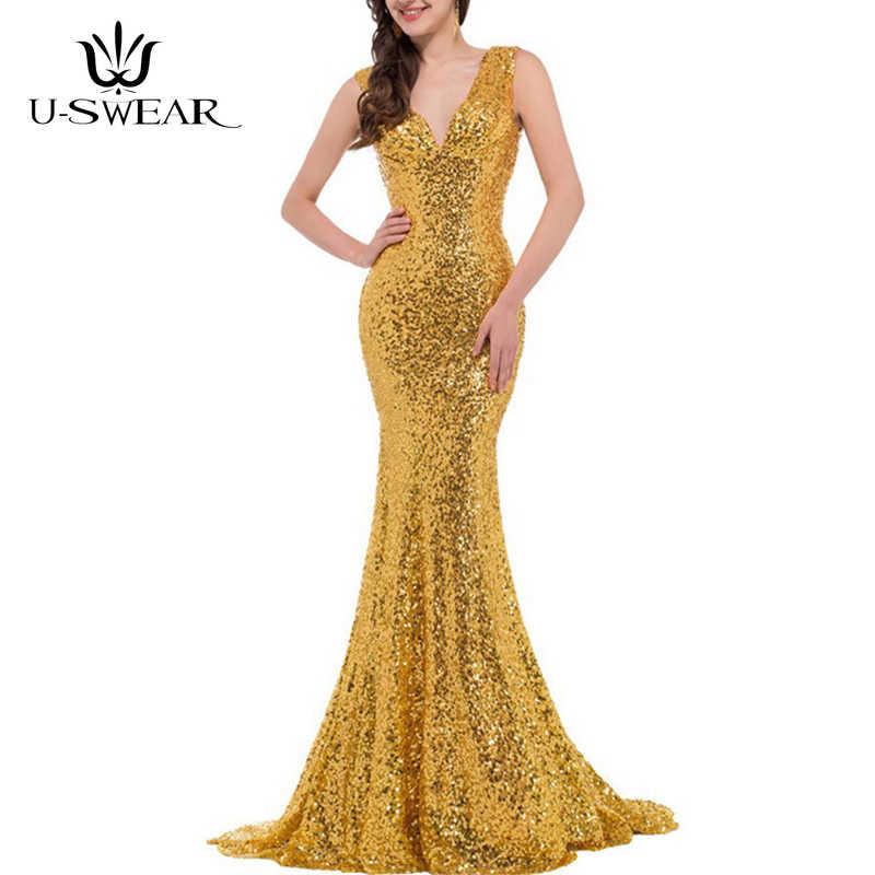 U-SWEAR סקסי עמוק צווארון V שרוולים ארוך אלגנטי ערב שמלות מפלגה לנשף רשמי שמלת נצנצים Vestidos גלימת דה soiree