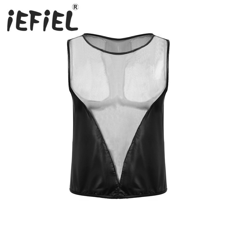 iEFiEL Fashion Mens Male Faux Leather and Sheer Mesh Splice Pullover Muscle T-shirt Clubwear Nightwear Costumes Undershirts