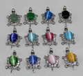 wholesale 12pcs jade/opal/crystal different colors charming tortoise pendant fashion jewelry