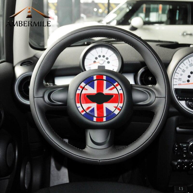 AMBERMILE 3D Centro Da Roda de Direcção Do Carro Adesivos Decoração Decal para Mini Cooper Countryman R55 R56 R57 R58 R60 R61 Acessórios