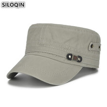 SILOQIN Adjustable Head Size Flat Caps Men Snapback Cap Fashion Cotton Vintage Army Military Hats For NEW Brands Dads Hat