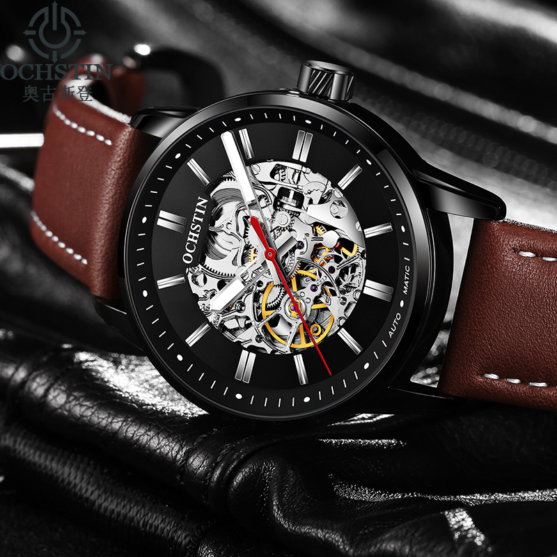 цена на 2018 New OCHSTIN Luxury Brand Fashion Mechanical Watches Men Leather Strap Luminous Men's Sport Automatic Watches reloj hombre