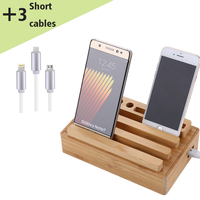 4 port wooden charging station with short cables