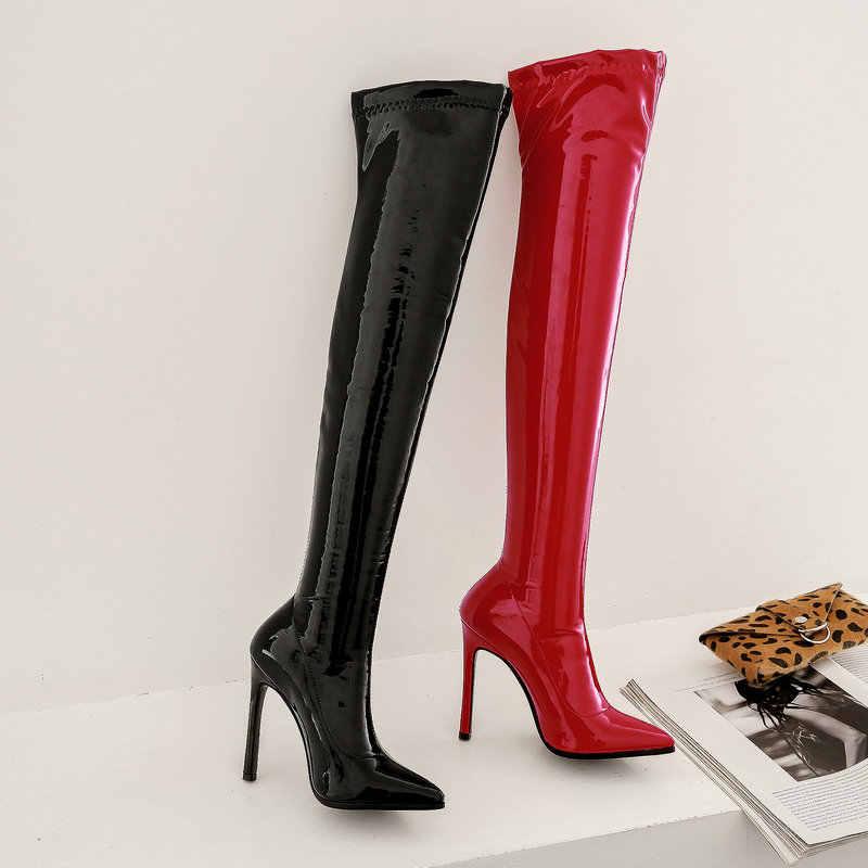 เซ็กซี่ยืดสิทธิบัตรหนังเข่ารองเท้าสตรี Extreme ต้นขาสูงรองเท้าส้นสูงชี้ Toe พรรคฤดูหนาวสีดำสีแดง