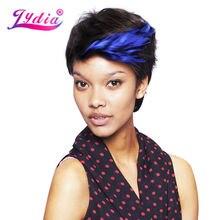 Λυδία για γυναίκες Σύντομες συνθετικές περούκες Ombre Χρώμα FT1B / Μπλε 100% Kanekalon Σγουρό μαστίγιο Αφρικανική αμερικανική περούκα της φύσης
