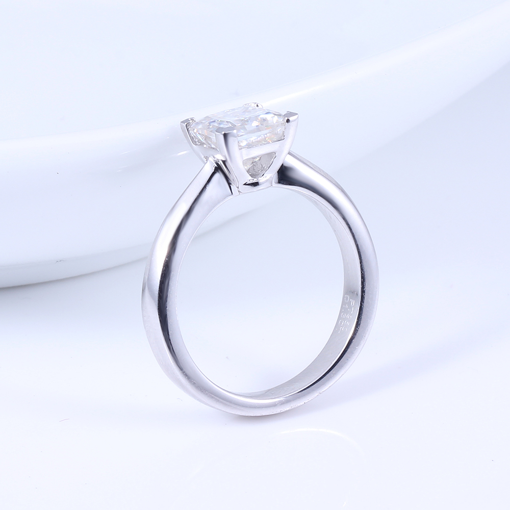Transgems 1.3ctw Princess Cut Lab Grown Moissanite Diamond Engagement Wedding Ring Platinum Plated 925 Sterling Silver