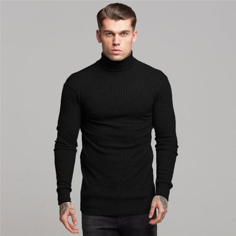 Novo 2019 primavera alta pescoço quente camisola masculina gola alta marca de moda dos homens camisolas fino ajuste pulôver malhas masculino