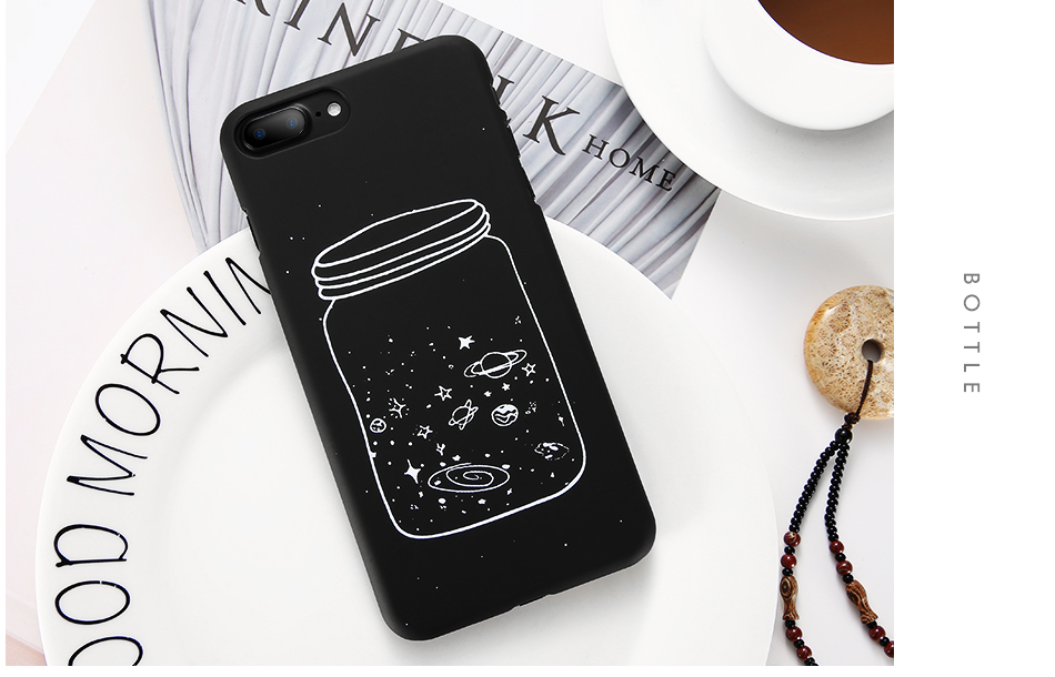 MR.YI Fashion Space Phone Case For iPhone 6 6S 7 8 Plus 5 5S SE X Cute Case Planet Moon Star Back Cover Hard PC For iPhone 7 8 6 (6)