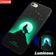 ZHSHUM 3D Touch Luminous Case for Iphone 6 6S 7 8 X Pattern Phone Case Back Cover for Iphone 6 6S Plus iphone 7 Plus S Case deer nillkin back case for iphone 6 plus