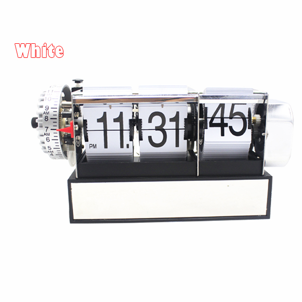1 Piece Black White Automatic Flip Desk Alarm Clock For Art Home and Office Decorative Mini Table Clock 4