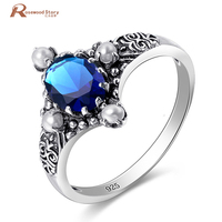 Charmante Vrouwen Ringen Shiny Blue CZ 925 Sterling Zilver Kleur Ring Size 5-10 Liefde Stijl Gift Wedding Engagement sieraden Groothandel