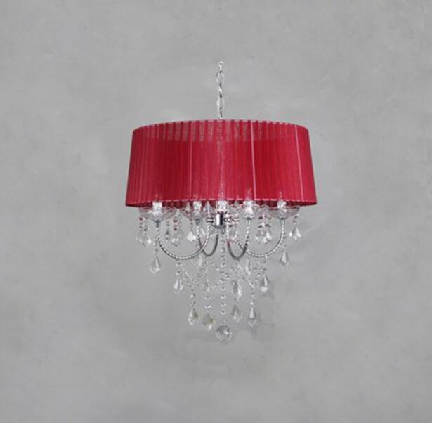Осветительная лампа, подвесные светильники, светодиодная Хрустальная спальня, благородная Роскошная лампа, дымоход e14, лампа, стеклянная основа, светодиодная лампа, модный абажур XU - Цвет корпуса: claret