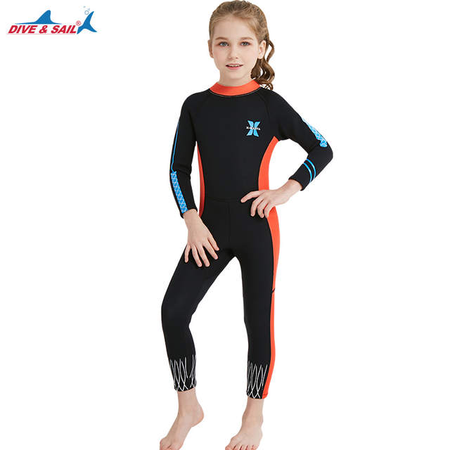 Online Shop Kids 2.5mm Neoprene Diving Wetsuit Boys Girls Swimsuits Long  Sleeve Swimwear Full Body Sun UV Protection Warm Swimming Suit  29780fc92