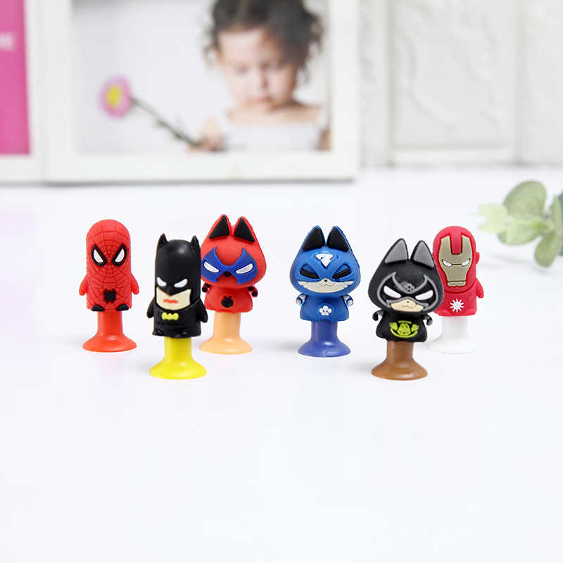 12pcs/lot Movie Action Figures Cat spider Bat and Men of Iron Mini Sucker Cup Funny Creative Toy Kids Pencil Topper Decor